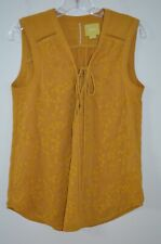 Anthropologie Mauve Gold Embroidered Sleeveless 39% Cotton Blouse Size 8