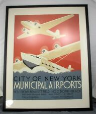 "1937 World Fair City of New York Municipal Airports Airplane Poster Print 34x42"""