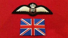 Modern British RAF PILOT WINGS Queens Crown Royal Air Force Padded Uniform Patch