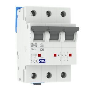 Miniature circuit breaker C6A 3-Pin 10kA VDE Backup Maker MCB SEZ
