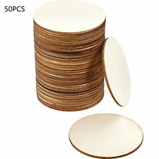 50Pc DIY Blank Wood Pieces Slice-Round Unfinished Crafts Wooden Discs Circles
