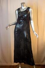 Womans CITRON Santa Monica Long Sheer Velvet Beaded Burnout Maxi Dress Size L