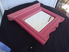 vintage antique bevel edge wall mirror edwardian wooden frame plum pink