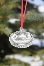 Hastings Pewter Lead Free Pewter Cat Ornament cat in basket NEW gift Made in USA
