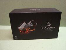 New listing Diamond Whiskey Glasses Set of 2 New in Box Barware Glassware Gift Set