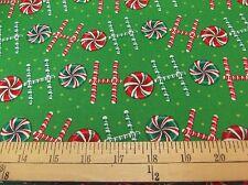 "1 yard  Santee  ""Ho! Ho! Ho! Candy Canes"" Christmas  Fabric"