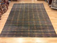 Modern Grey & Multi Colour Striped Handwoven Wool Rug XXL Large 240x308cm 60%OFF