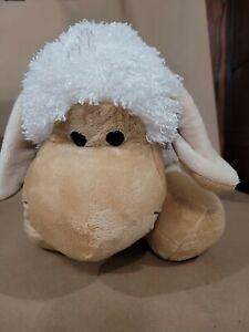 Plush Stuffed Lamb Sheep White Tan With Curly Fur