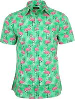 Run & Fly Mens Tropical Flamingo Print Short Sleeved Shirt VTG Retro Hawaiian
