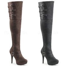 Lust-3000 sexy Funtasma High Heels Overkneestiefel schwarz rot Lack Gr 36-43