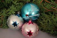 Christbaumschmuck Weihnachtskugeln Set handbemalt Sterne blau Glas Weihnachten