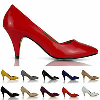 WOMENS COURT SHOES PUMPS MID HEEL LADIES WORK CASUAL OFFICE SHOES SIZE 3-8