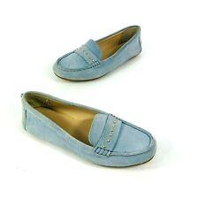 Calvin Klein Lissa Womens Blue Suede Loafer Comfort Flats Size 7.5 Gold Hardware