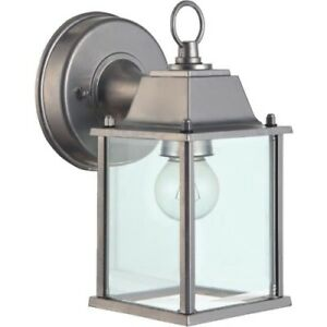 Home Impressions 100W Brushed Nickle Lantern Outdoor Wall Light Fixture