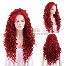 """Long Spiral Curly 26"""" Dark Red Lace Front Wig Heat Resistant"""