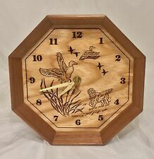 "Lasercraft Wood Hexagon Clock Hunting Duck Dog Cabin Lodge 7 1/4"" x 2 1/4"""