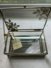 Cynthia Rowley Jewelry Box, Glass/Silver Metal, Small NWT