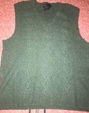 POLO RALPH LAUREN ~ Mens Green Hand Knit Sweater Vest Silk Wool Linen Blend ~ XL