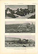 Déraillement du Sud-Express Wagon-Restaurant Locomotive Train Ligne GRAVURE 1900