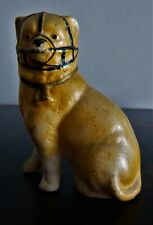 """New ListingAntique Bisque Pug Dog Wearing Muzzle~ 2-3/4"""" Tall~ Unmarked ~ Very Old~ Sitting"""