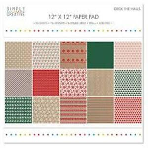 """Simply Creative Deck The Halls 6 x 6"""" Backing Papers,30 Sheets,15 Designs BN"""