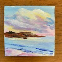 3x3 Tiny Seascape Sea Ocean Waves Acrylic Painting on Canvas