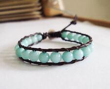Aventurine bracelets,Leather bracelets,women bracelets,blue bracelets,6mm stone
