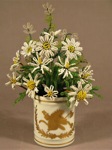 "BEADED FLOWERS vintage Daisies French vase Decor Main Limoges 10"" SL61"