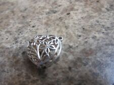 VINTAGE STERLING SILVER BRACELET CHARM FILIGREE HEART OPENS TO A RING