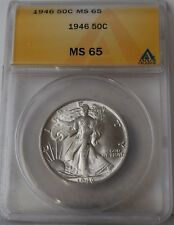 "1946 Liberty Walking Half Dollar ""ANACS MS65"" *Free S/H After 1st Item*"