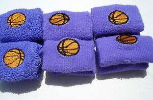 12 TERRY CLOTH BASKETBALLS WRIST BANDS  CARNIVALS, PARTY TOYS, FAVORS,