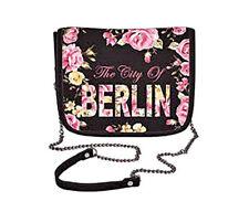 Robin Ruth Petit sac à main BERLIN FLEURS NEUF / OVP Sac avec collier noir rose
