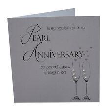 30th Pearl Wedding Anniversary Card Wife Crystal Handmade Anniversary Card Wife