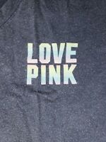 NEW VICTORIA'S SECRET PINK GIRLFRIEND CROPPED LONG TEE SHIRT RAINBOW LARGE L