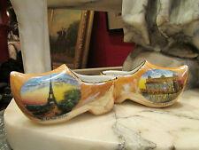 ancienne paire sabots porcelaine allemande saxe souvenir paris tour eiffel opéra