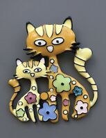 Vintage style artistic cat kitty  flower arge brooch in enamel on metal