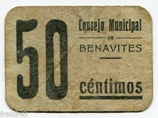 Billete local BENAVITES 25 Céntimos 1937 BC / VG