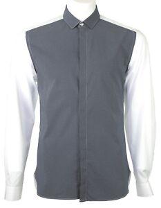 Neil Barrett tiny dot front panel slim fit shirt blue
