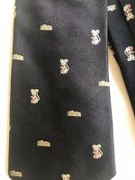 Atkinson's for Henry Buck's 100% silk tie Navy Blue with mice & cheese wedges on