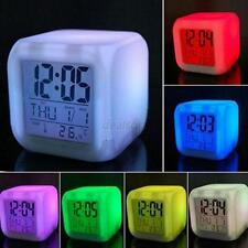 7 Colors LED Change LCD Glowing Digital Alarm Date Time Thermometer Clock Image