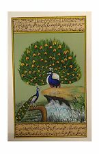 PEACOCKS MINIATURE PAINTING ON OLD PAPER WITH URDU SCRIPT NATURAL WATERCOLOR