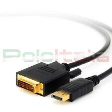 Cavo 3m DisplayPort DVI D video monitor av pc 1080p Full hd tv 4k 3d computer dp