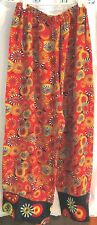 Vintage CHICO'S Fancy Pants Embroidered Asian Parasol Red & Black Print Rayon
