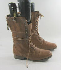 "NEW Tan 1""Heel Lace Up Round Toe Sexy Mid-Calf Boots    US WOMEN Size 8"
