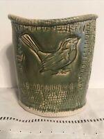 """Antique Arts & Crafts Bird Olive Light Green Pottery 7"""" Vase Vintage"""