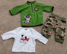 x3 Carters/Old Navy Boys Fleece Casual Pants/Shirt-Green/Camo/White-0/3 months