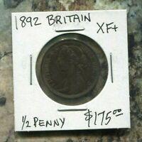 GREAT BRITAIN - FANTASTIC HISTORICAL QV BRONZE HALF PENNY, 1892, KM# 754