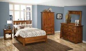5-Pc Mission Arts & Crafts Bedroom Set Solid Wood Queen King Low Foot Board USA