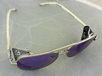 Ladies AOFLY Sunglasses Silver Metal Frame Purple Mirror Reflective Aviator Lens