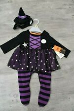 BABY GIRLS AGE NEWBORN 1 MONTH WITCH HALLOWEEN FANCY DRESS COSTUME SLEEPSUIT